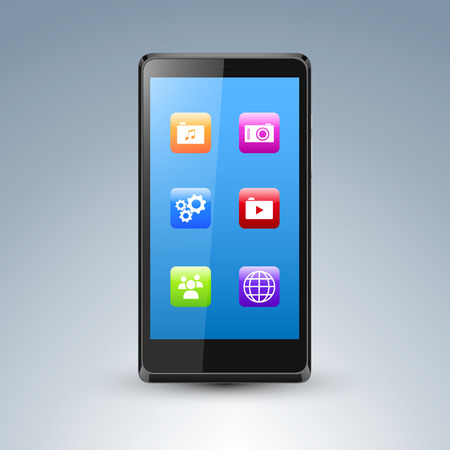 Illustration of a smarthone with editable screen and app icons Vector