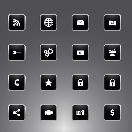 Collection of universal icons for apps and web - black glossy design with silver metallic outline Vector