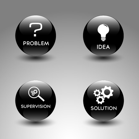 Black glossy icons representing the problem solving process Vector
