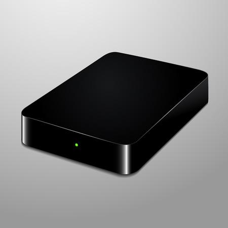 disco duro: Ilustración realista de un negro disco duro externo Vectores