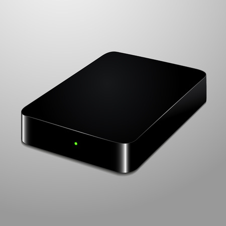 Realistic illustration of a black external hard drive Illustration