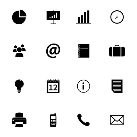 fax: Set of flat icons - office and business