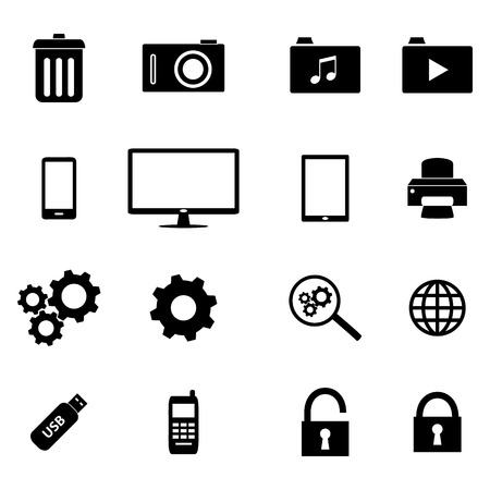 unlocked: Set of flat icons - business and technology