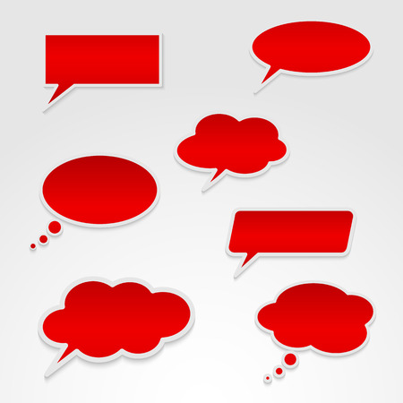 think bubble: Set of various red speech bubbles Illustration