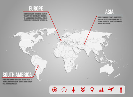 Infographic illustration with various icons concerning travelling, geography and demography Vector