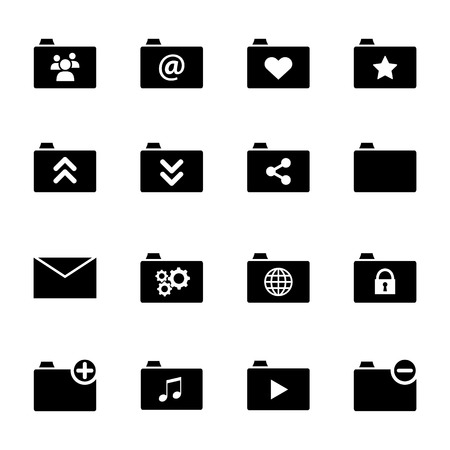 Collection of various black flat folder icons suitable for web or mobile phone applications Vector