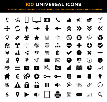 Big set of 100 universal black flat icons - business, office, finance, environment and technology Vector