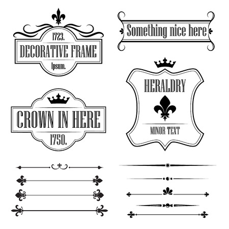 Set of calligraphic flourish design elements Illustration
