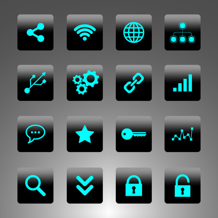 Set of black and cyan icons - technology, business and web Vector