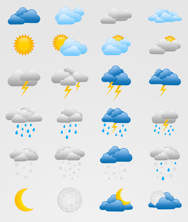 moonshine: Set of 24 colorful weather icons