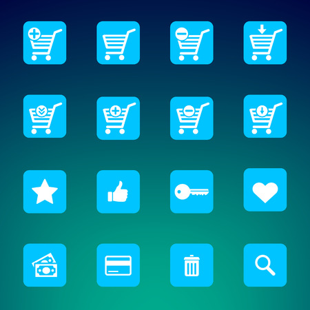 eshop: Set of various e-shop icons suitable for web or mobile applications - shopping carts, search, add, remove and much more. Illustration