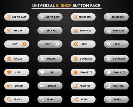 eshop: Set of simple modern grey e-shop buttons - fully editable Illustration