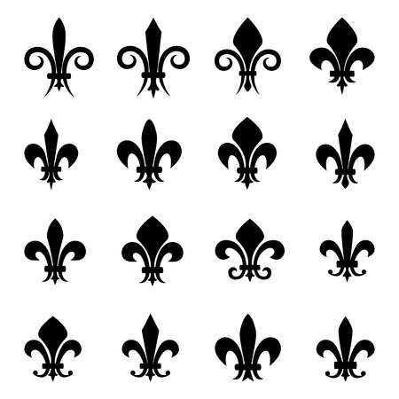 Set of 16 different Fleur De Lis symbols Vector