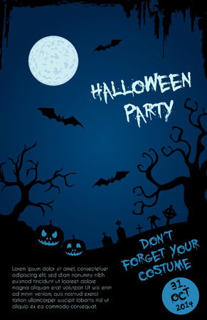 Halloween party flyer template - blue and black design with horror font, Fully editable EPS10 Vector