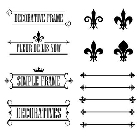 Set of calligraphic flourish design elements - fleur de lis, deviders, frames and borders - decorative vintage style Vettoriali