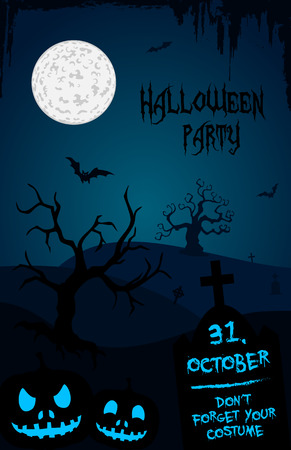 Halloween party flyer template - blue and black - cemetery theme Vector
