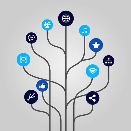 Abstract icon tree illustration - internet, media, communication and technology concept Vector