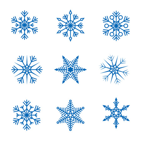 Collection of vector snowflakes Ilustração