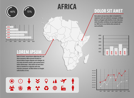 map pin: Map of Africa - infographic illustration with charts and useful icons