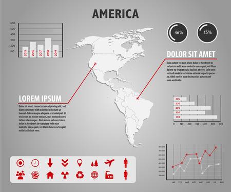 demografia: Mapa de América - ilustración infografía con gráficos e iconos útiles Vectores