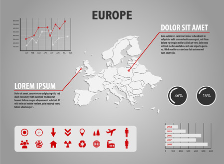 european map: Map of Europe - infographic illustration with charts and useful icons