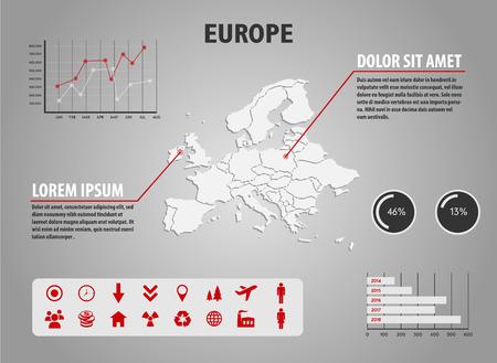 mapa de europa: Mapa de Europa - ilustración infografía con gráficos e iconos útiles