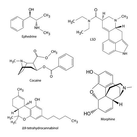 illicit: Formule chimiche di droghe illecite e sostanze Vettoriali