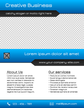 brochure cover design: Business multipurpose flyer template - blue and grey