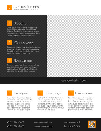 Corporate business flyer template - orange and grey Stok Fotoğraf - 33989104