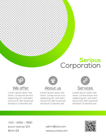 cover design: Business flyer template - simple white and green design Illustration