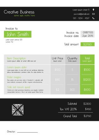 payable: Plantilla de la factura - estilo moderno limpio de verde y gris