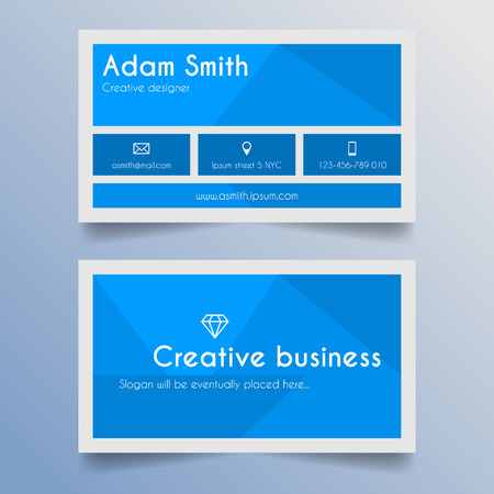 Business card template - blue and light grey design Vector