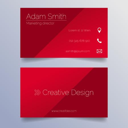 business card: Business card template - sleek red design