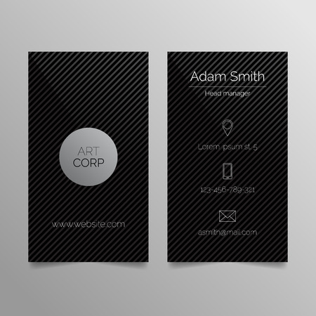 business cards: Business card template - dark sleek design