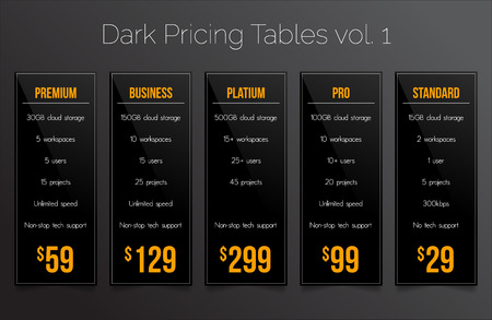 pricing: Dark pricing tables - set of five price banner templates suitable for web and e-shops