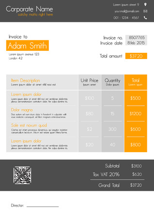 invoice: Invoice template - clean modern style of orange and grey