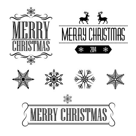 caribou: Merry Christmas decorative signs and frames with snowflakes