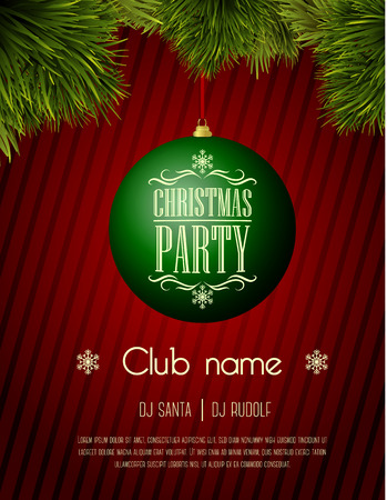 christmas time: Christmas party flyer template - green bauble on a red background Illustration