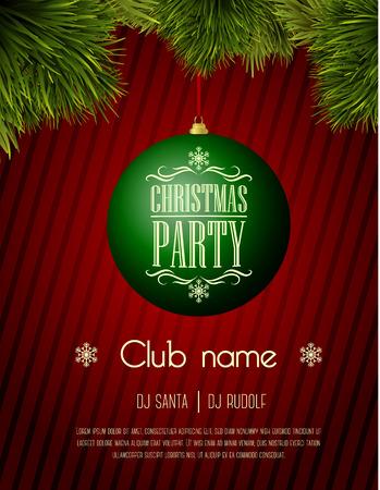 Weihnachtsfeier Flyer Vorlage - grün Christbaumkugel auf einem roten Hintergrund Standard-Bild - 34810833