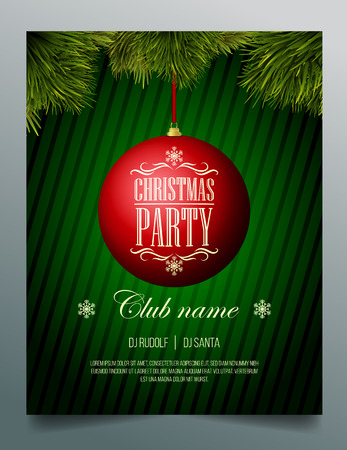 Christmas party flyer template - red bauble on a green background