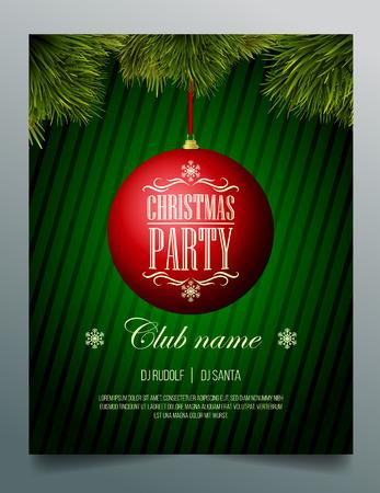 Weihnachtsfeier Flyer Vorlage - rot Spielerei auf einem grünen Hintergrund Standard-Bild - 34837715