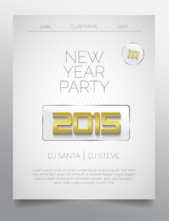 New year party flyer template - light design of gold and white Vector
