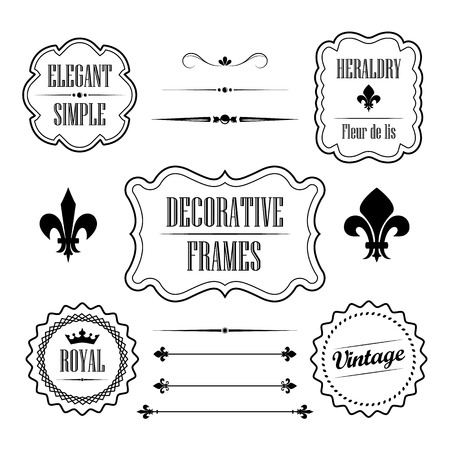 Set of decorative frames, borders and dividers - vintage retro style Vector