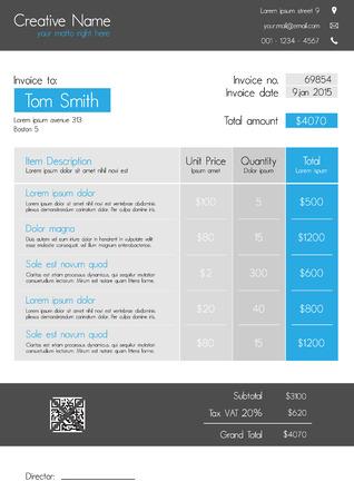 cuadro sinoptico: Plantilla de la factura - estilo moderno limpio de azul y gris con pesta�a gran tema