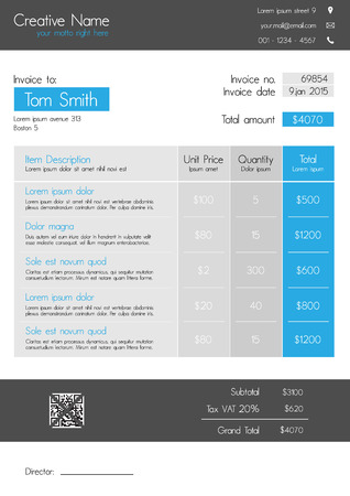 Invoice template - clean modern style of blue and grey with big item tab Illustration