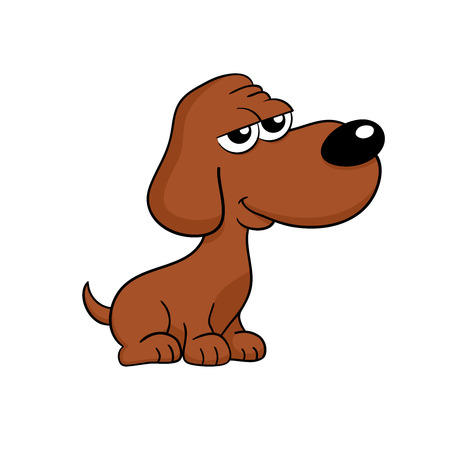 doggie: Cute happy brown dog sitting - isolated cartoon illustration
