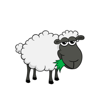 Isolated illustration of a cartoon sheep eating grass 일러스트