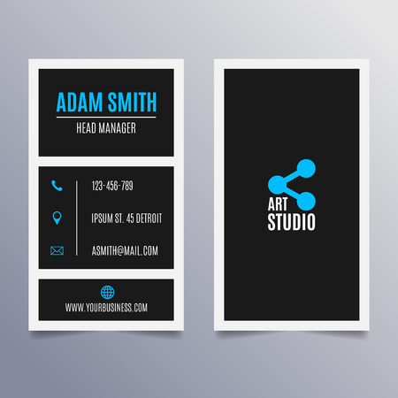 visit: Business card template - vertical black and blue modern clean design