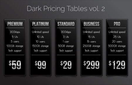 eshop: Dark & silver pricing tables - set of five price banner templates suitable for web and e-shops