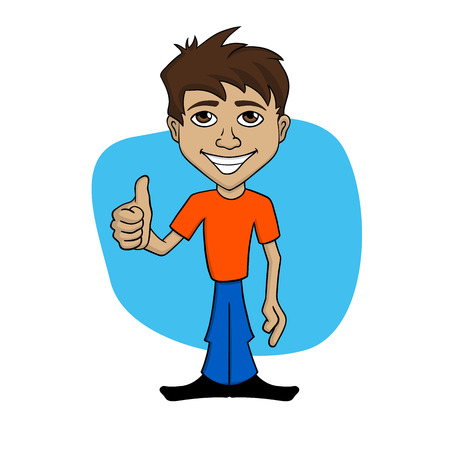 agreeing: Cartoon illustration of a happy man giving thumb up